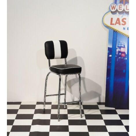 "main image of ""Depone 50'S Tall Black White Breakfast Bar Stool Chair Chrome Frame"""