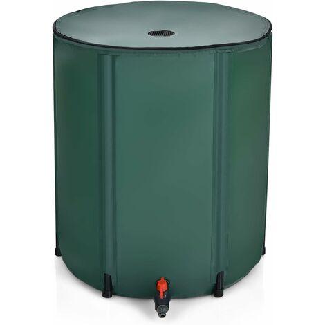 Depósito de agua Barril de Lluvia Plegable de 200L Tanque de Agua de Lluvia de PVC con Grifo y Válvula de Drenaje para Jardín