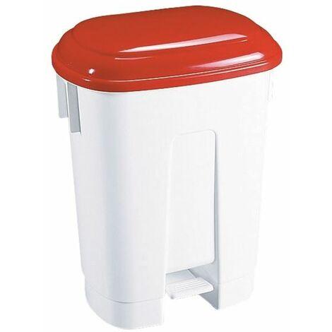 Derby 30L White/Red Pedal Bin 348021 - SBY14764