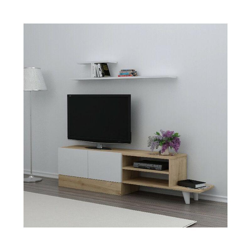 Derin TV-Schrank mit Regal, Tueren, Regalen - aus dem Wohnzimmer - Weiss, Eiche aus Holz, 159,5 x 31,5 x 40 cm