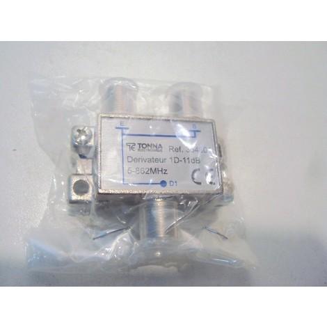 Derivateur de passage 1 direction type F 11db 5/862 MHZ 53X48X23mm pour cable antenne TV TONNA 364801