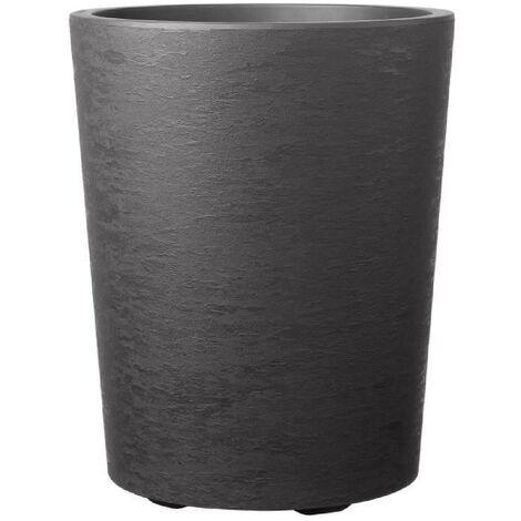 DEROMA Pot de fleur Vaso Gravity avec réserve d'eau H 53.5 cm - Gris carbone