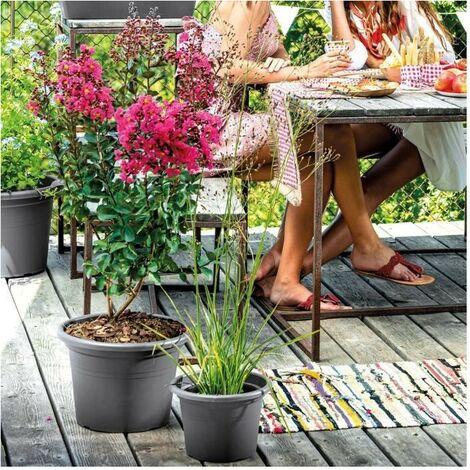 DEROMA Pot de fleurs rond Day R anthracite - Coloris gris anthracite - 60cm
