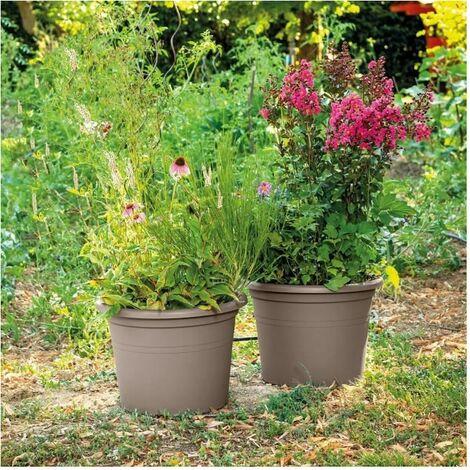 DEROMA Pot de fleurs rond Day R camel - Coloris taupe - 50cm