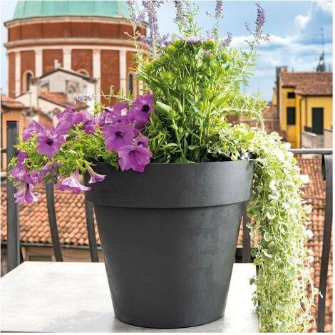 DEROMA Pot de fleurs rond Like anthracite - Coloris gris anthracite - 30cm