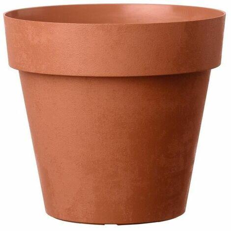 DEROMA Pot de fleurs rond Like corten - Coloris terre rouge - 18cm