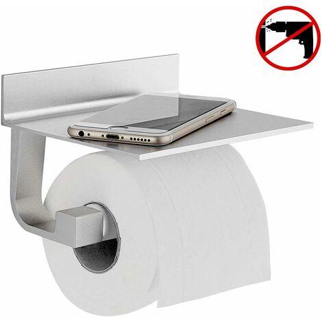 Derouleur Papier Toilette Porte Papier Toilette Mural Support Papier Toilettes Auto-adhésif, Aluminium Noir
