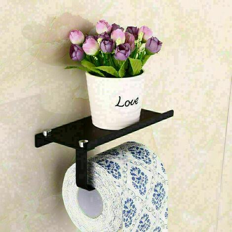 Derouleur Papier Toilette Porte Papier Toilette Mural Support Papier Toilettes Auto-adhésif, Noir