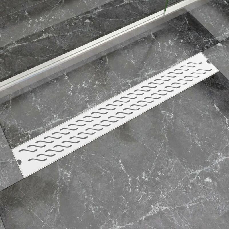 Desagüe lineal de ducha ondas 830x140 mm acero inoxidable
