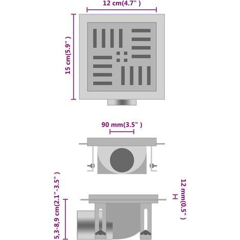 Desagüe de ducha con cuadrados de acero inoxidable 12x12 cm