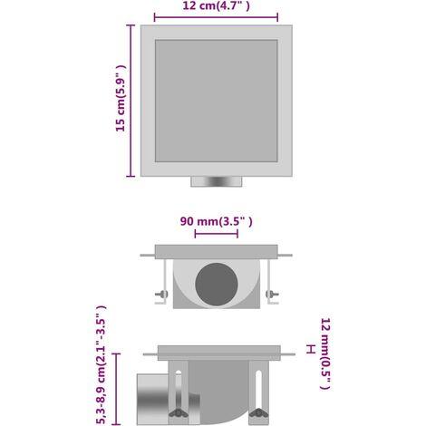 Desagüe de ducha cubierta inserción suelo acero inox. 12x12 cm