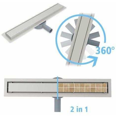 Desagüe de ducha de acero inoxidable 2 in 1 + sifon 360 Canaleta de ducha para cuarto de baño sumidero con sifón antiolores filtro de desagüe