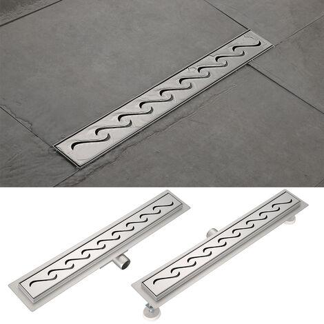 Desagüe de ducha de acero inoxidable canaleta desagüe de acero inoxidable, sumidero con sifón antiolores -60cm