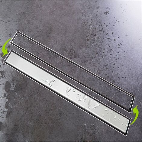 """main image of """"Desagüe de ducha de acero inoxidable forma de Agujero Largo Canaleta de ducha para cuarto de baño sumidero con sifón antiolores filtro de desagüe"""""""
