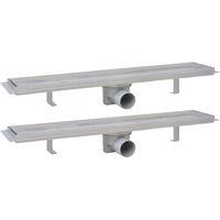 Desagüe ducha lineal 2 pzs burbuja 630x140 mm acero inoxidable