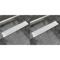 Desagüe ducha lineal 2 pzs curvas 630x140 mm acero inoxidable
