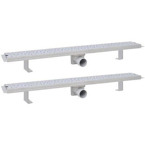 Desagüe ducha lineal 2 uds burbuja 830x140 mm acero inoxidable