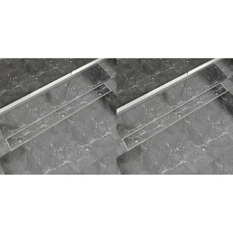 Desagüe lineal de ducha 2 piezas 1030x140 mm acero inoxidable