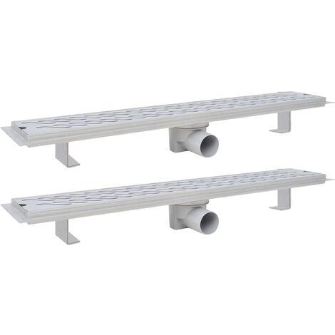 Desagüe lineal ducha 2 uds curvas 730x140 mm acero inoxidable