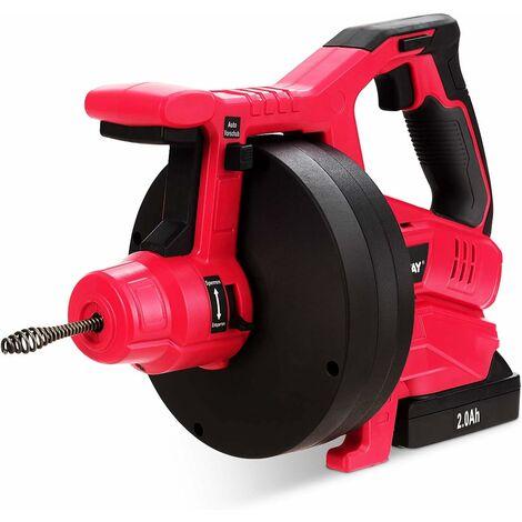 Desatascador de Desagües Dispositivo de Limpieza de Drenaje 2000 mAh/Tubos de 19-50mm/Espiral de 7,8 m/Eje de Limpieza de Drenaje de 560 rpm