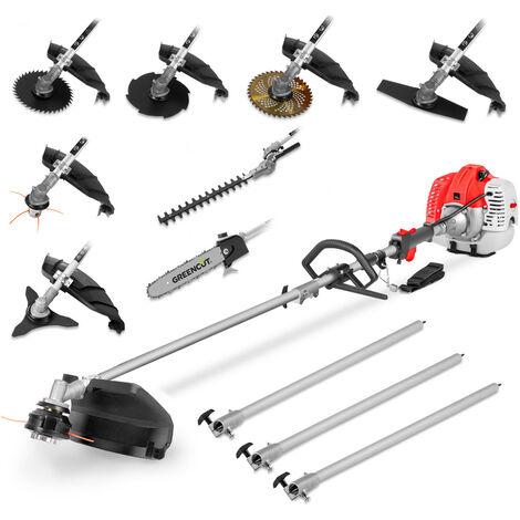"""main image of """"Desbrozadora multifunción GM650X-9 gasolina motor 2T 65cc 4.9cv, 9 accesorios herramientas corte, manillar doble, arnés, podadora, cortasetos - GREENCUT"""""""