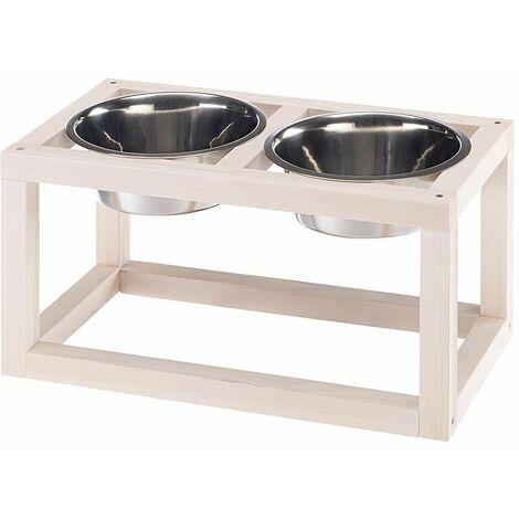 """main image of """"Ferplast DESCO WOOD Porte-gamelles en bois avec gamelles en acier inoxydable pour chiens et chats. Trois tailles."""""""