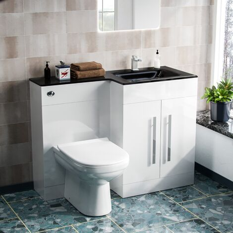 Desford Right Hand 600mm Vanity Unit, Black Basin, WC Unit And BTW Toilet White