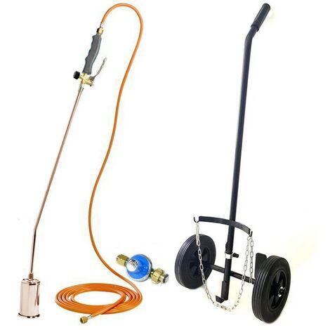 Desherbeur pro KEMPER tuyau 5 m bruleur 60 mm Allume gaz+ détendeur propane inclus + chariot roues gonflées 260 mm