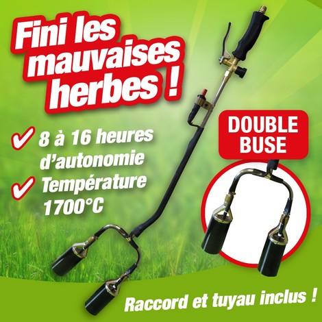 desherbeur thermique double buse avec allume piezo + detendeur butane propane + tuyau 5m