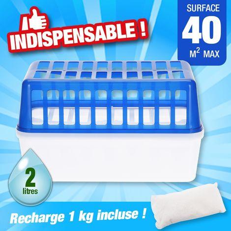 Déshumidificateur absorbeur d'humidité - 2 recharges de 1kg