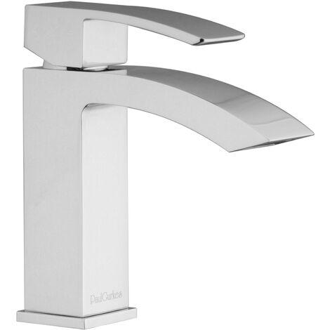 Design Armatur Waschtischbatterie Waschtischarmatur eckig Wasserfall