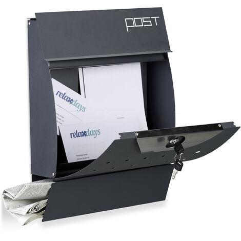 Design Briefkasten mit Zeitungsfach, Pulverbeschichtet, HxBxT: 37,5 x 35 x 10,5 cm, Wandbriefkasten, anthrazit