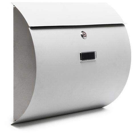 Briefkasten Set Wandbriefkasten V12 Silber pulverbeschichtet Zeitungsrolle V1