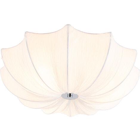 Design ceiling lamp white silk 52 cm - Plu