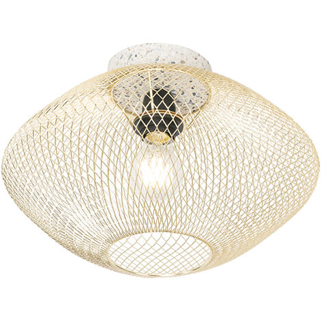 Design ceiling lamp white with brass - Ella