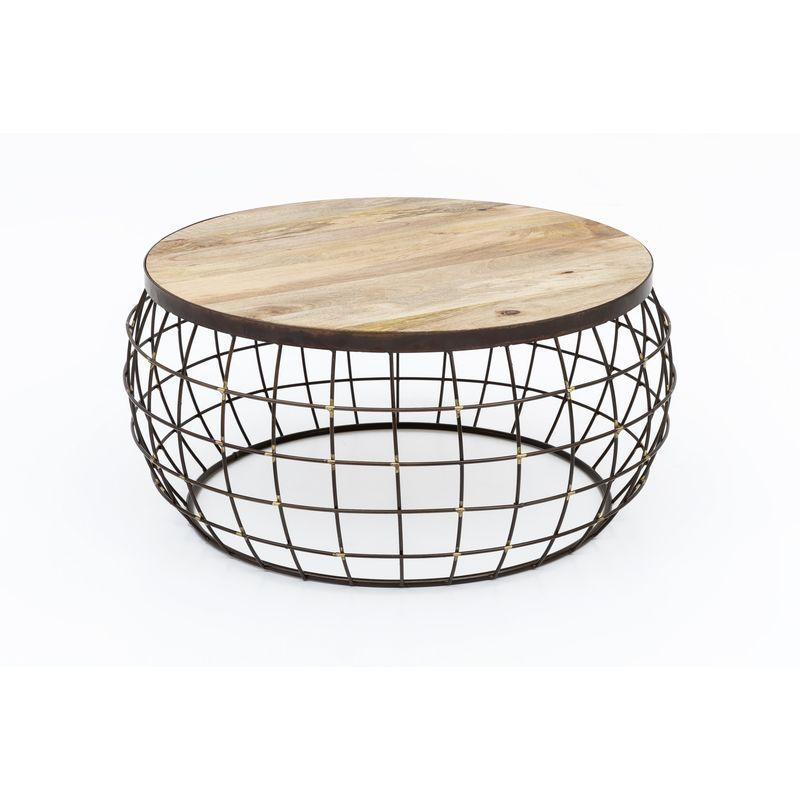 Design Couchtisch Korbtisch Draht Korb Tisch Beistelltisch Holztisch Metall Holz A00000385 - INDEX-LIVING