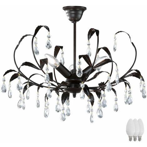 Design Feuilles Plafonnier Verre Cristal Behang E14 de la lampe rustfarben comprenant des ampoules à LED