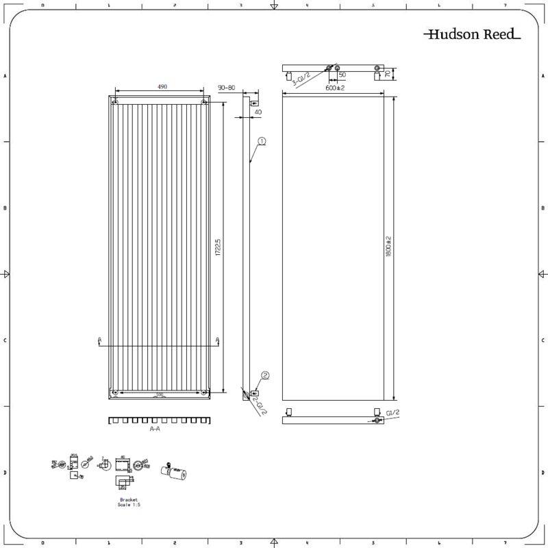 Heizk/örper Flach Design Vertikal Paneelheizk/örper 1600 x 620 mm Wei/ß Einreihig Mittelanschluss Heizung
