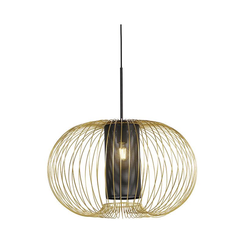 Qazqa - Design Hängelampe Gold mit schwarz 60 cm - Marnie