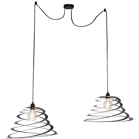 Design hanging lamp 2 lights with spiral shade 20 cm - Scroll