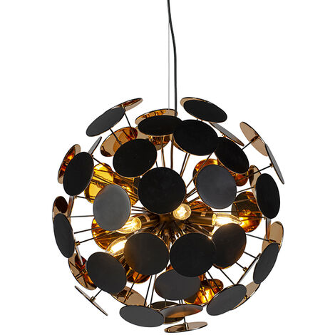 Design hanging lamp black with gold - Cerchio