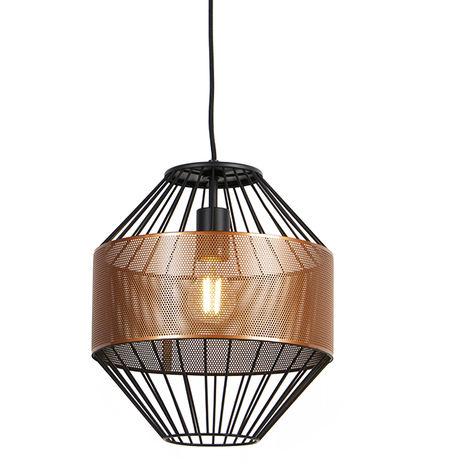 Design hanging lamp copper with black 30 cm - Mariska