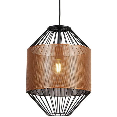 Design hanging lamp copper with black 33 cm - Mariska