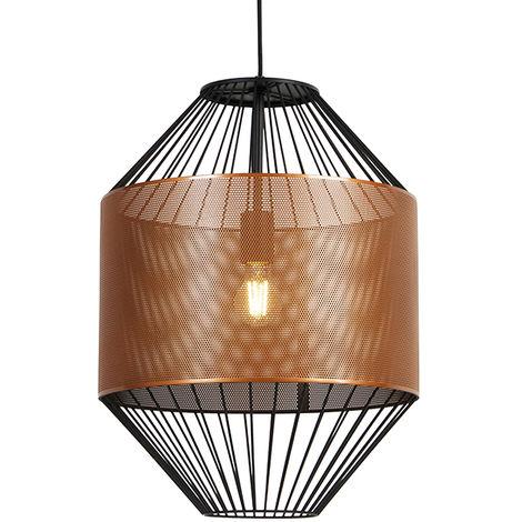 Design hanging lamp copper with black 40 cm - Mariska