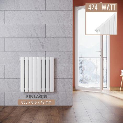 Design Heizkörper 630x616mm Einlagig Badezimmer/Wohnraum Seitenanschluss Weiß Flachheizkörper Badheizkörper Radiator