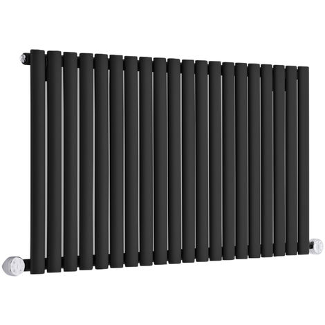 Design Heizkörper Elektrisch Horizontal Einlagig Schwarz 635mm x 1180mm inkl. 2x 600W Heizelemente - Revive