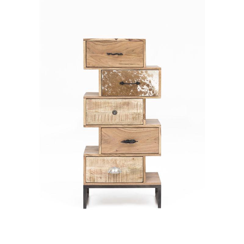 Design Highboard Akazie Fell Sideboard Kommode massiv Holz Schubladenschrank A00000334 - INDEX-LIVING