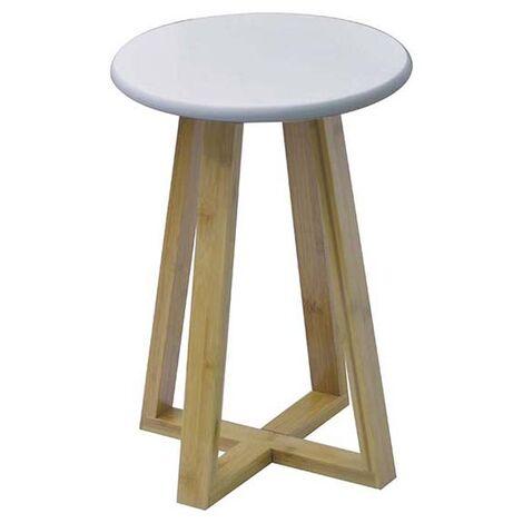 Design Hocker mit Bambusbeinen und weißem MDF-Sitz - Weiß / Bambus - 43x31x31cm - Beistelltisch oder Hocker - Design - Dekoration - Wohnzimmer - Schlafzimmer - Bruin