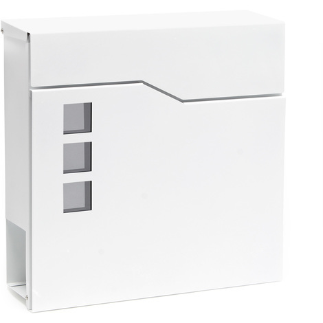 Design Mailbox V20 white Newspaper Compartment Wall Letterbox Postbox powder coated