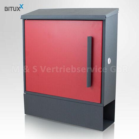 Design Metall Briefkasten Rot Grau Postkasten mit Zeitungsfach Wandbriefkasten